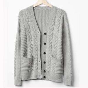 GAP Gray Honeycomb Cable Knit Chunky Cardigan